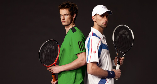 ¿Cuánto mide Andy Murray? - Altura - Real height Djokovic-murray-head-raquet